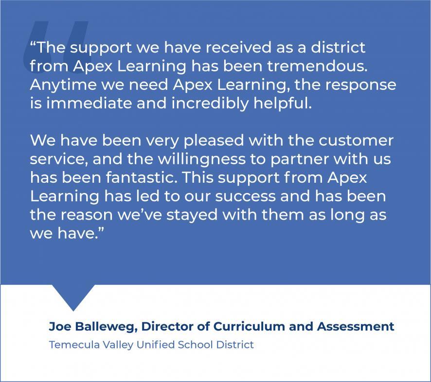 Joe Balleweg-Director of Curriculum and Assessment Quote