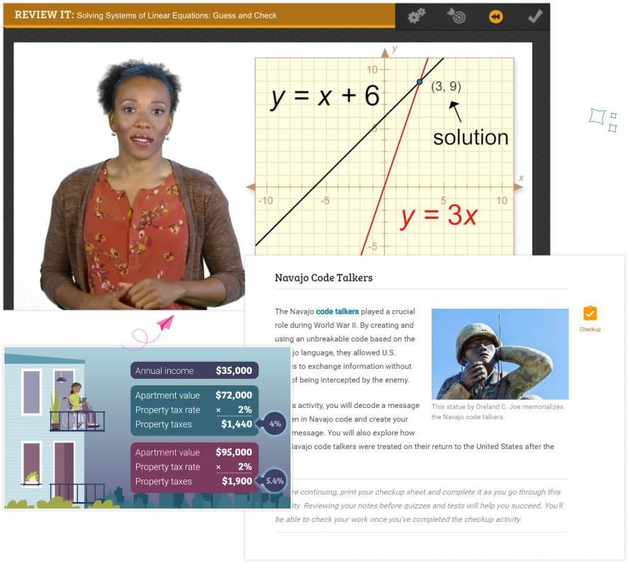 Screenshots of our digital curriculum